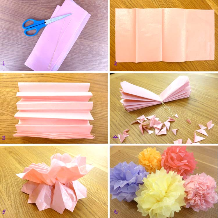 How To Make Tissue Paper Pom Poms DIY Tutorial