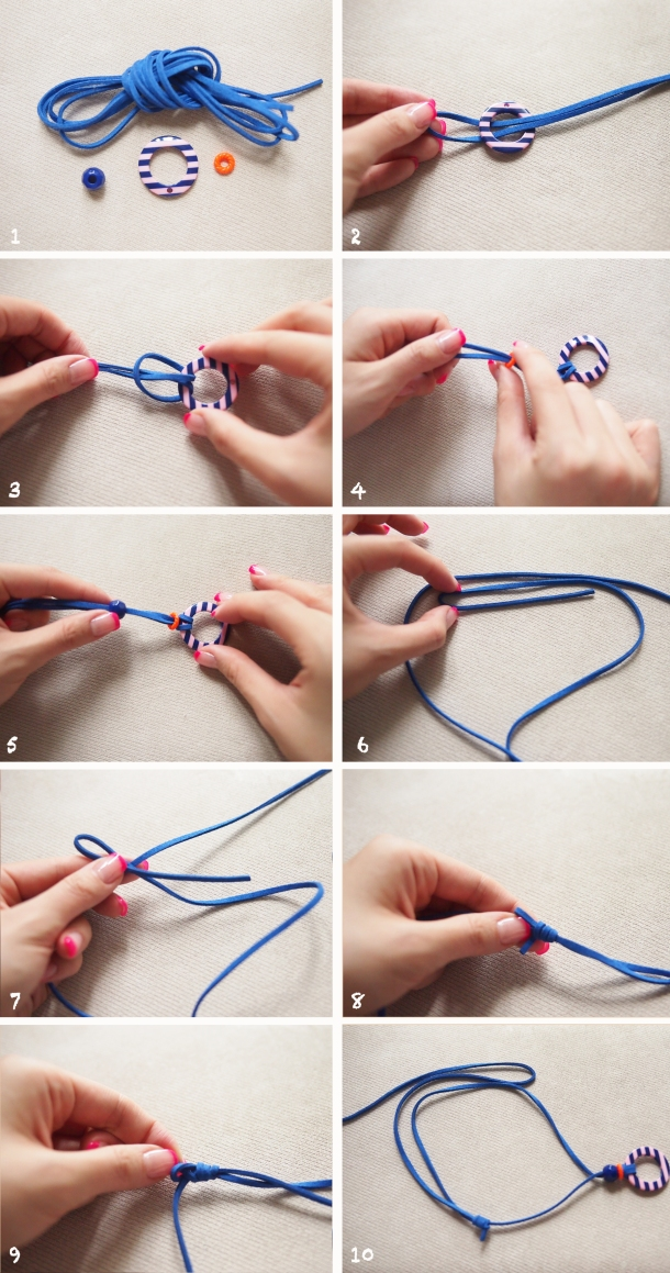 blue pink necklace