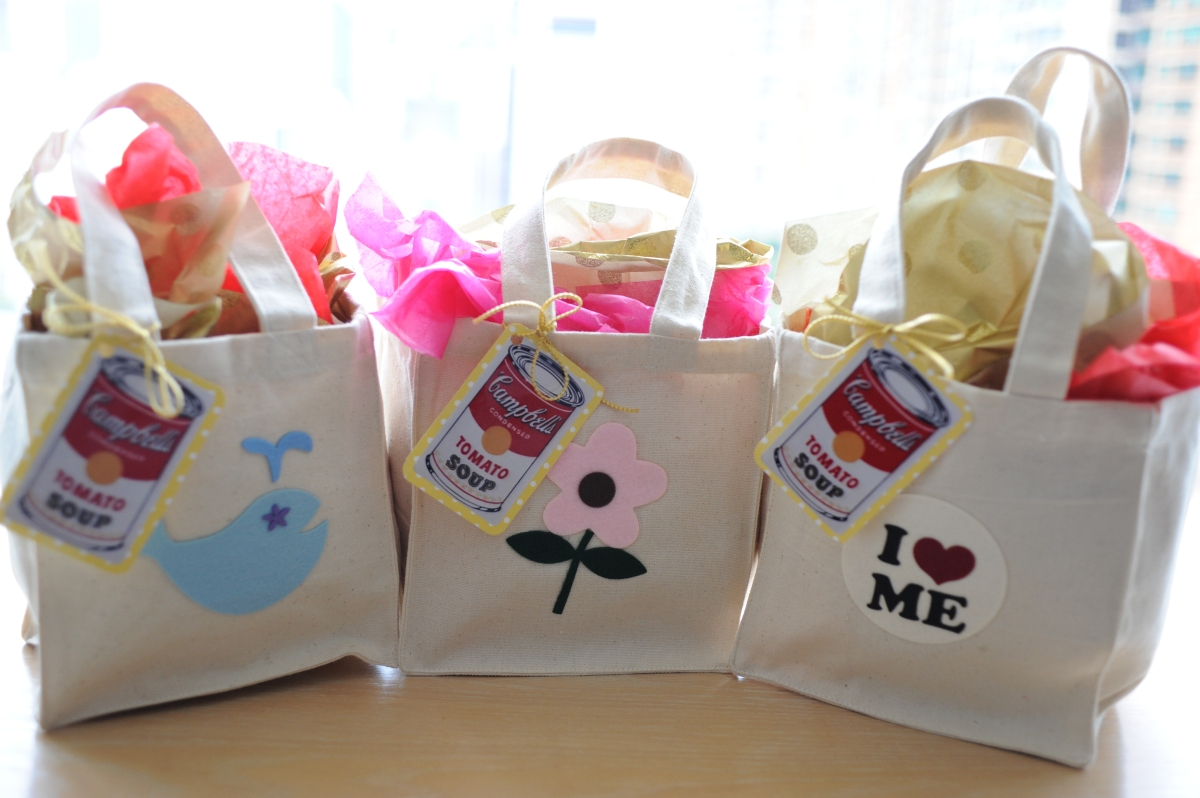 Baby shower tots n totes for Bag decoration ideas